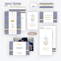 Marque-place mariage Ancre Marine Bleu Moutarde