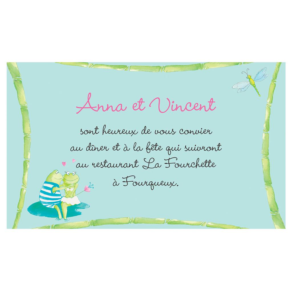 Carte d'invitation mariage Les Grenouilles  pas cher