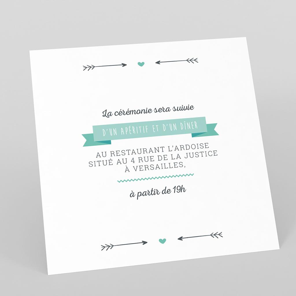 Carte d'invitation mariage Les Plumes