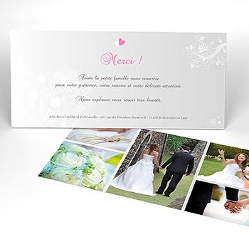 Carte de remerciement mariage Youpi gris panoramique