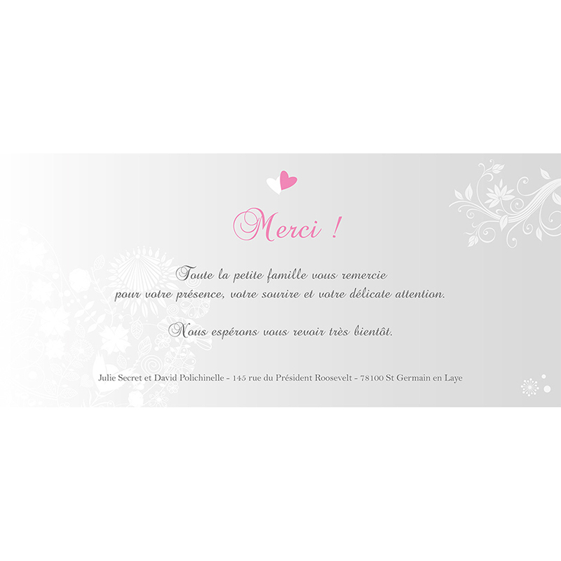 Carte de remerciement mariage Youpi gris panoramique pas cher