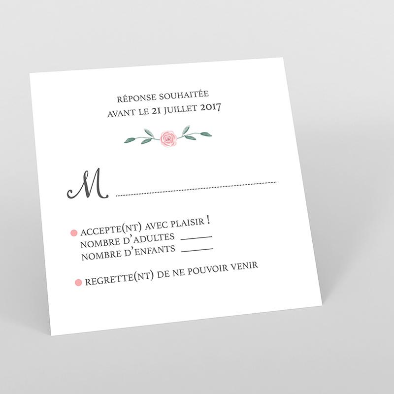 Carton réponse mariage Feuillage