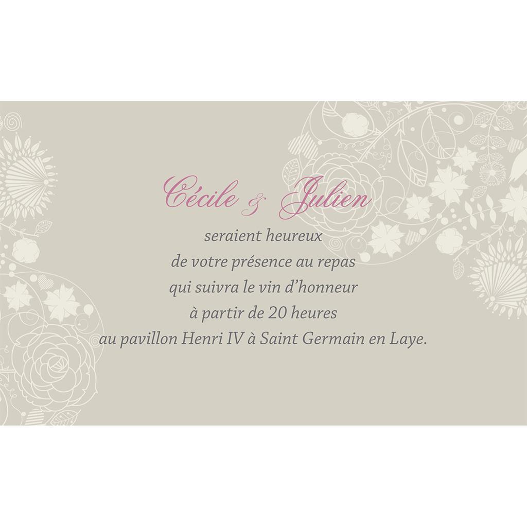 Carte d'invitation mariage Mariage ivoire  pas cher