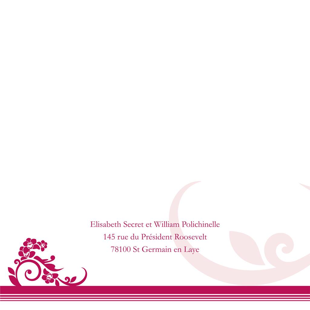Faire-part de mariage Cérémonie rose gratuit