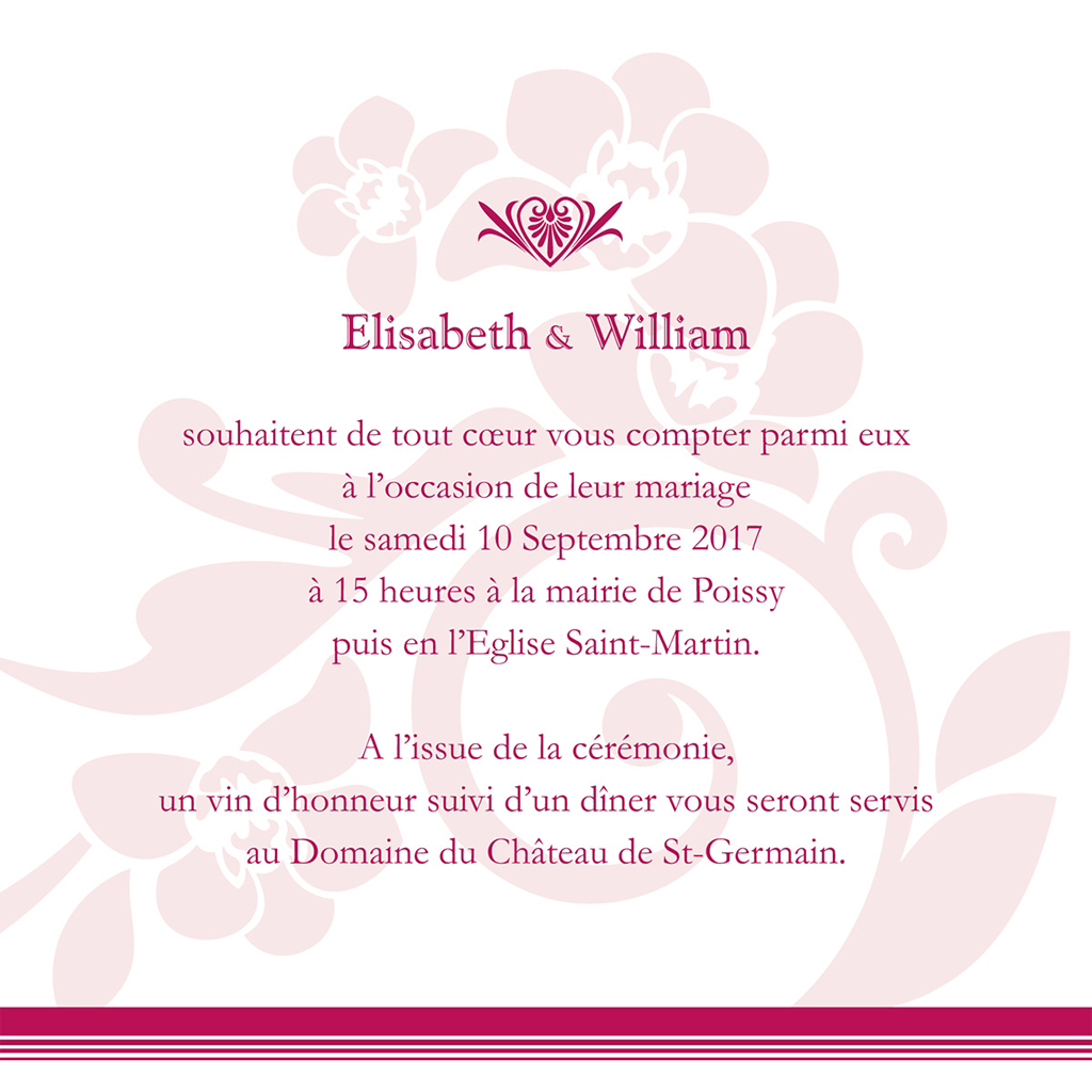 Faire-part de mariage Cérémonie rose