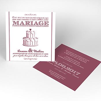 Faire-part de mariage Wedding cake bordeaux