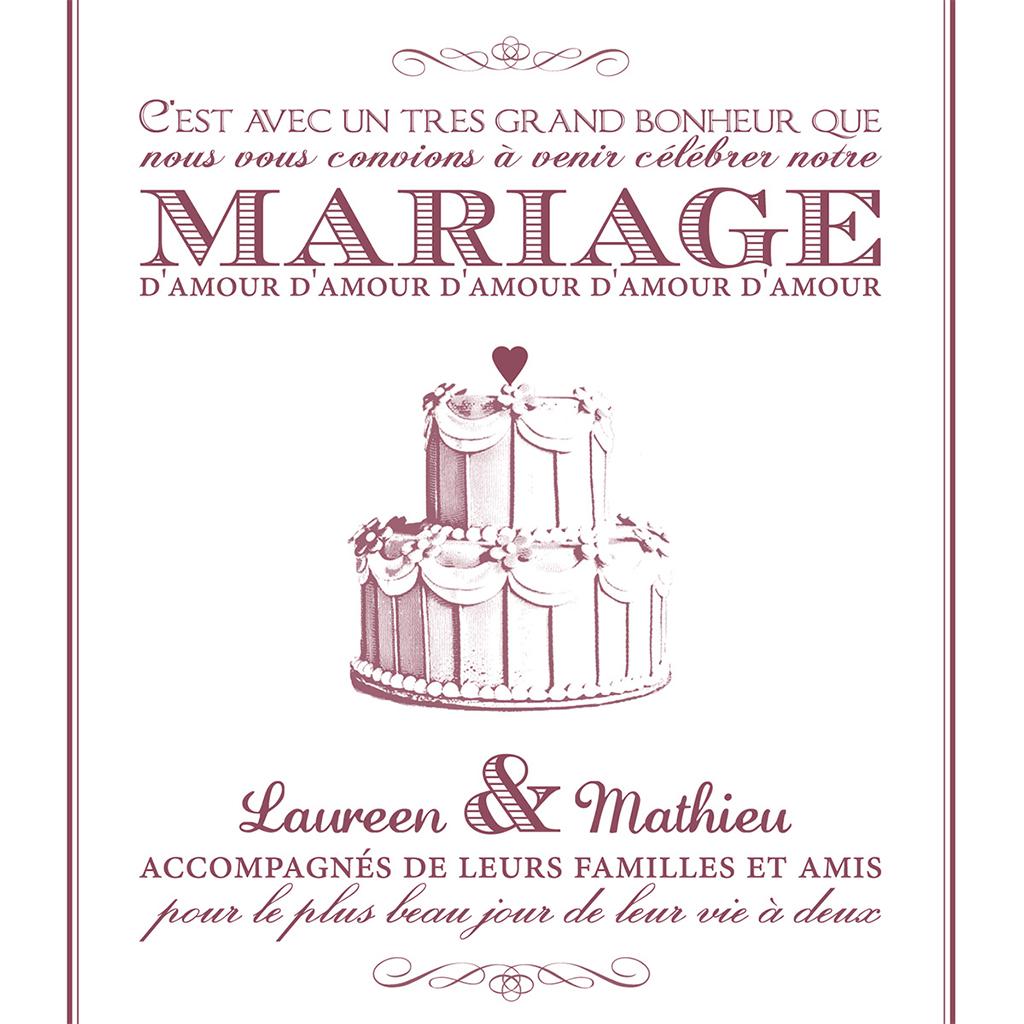 Faire-part de mariage Wedding cake bordeaux pas cher
