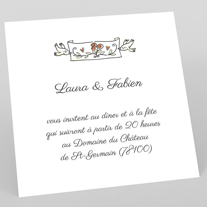 Carte d'invitation mariage Vélo à deux