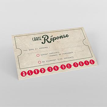 Carton réponse mariage Cinéma Vintage