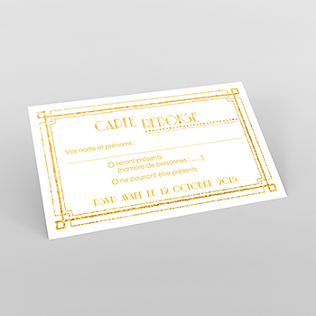 Carton réponse mariage Mariage années folles blanc