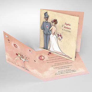 Faire-part de mariage Tendre espièglerie beige rose