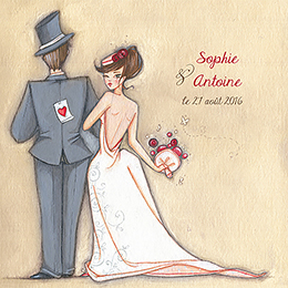 Faire-part de mariage Tendre espièglerie beige rose pas cher