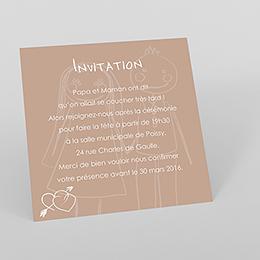 Carte d'invitation mariage Mots d'enfant beige