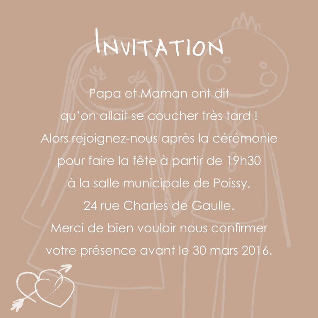 Carte d'invitation mariage Mots d'enfant beige  pas cher