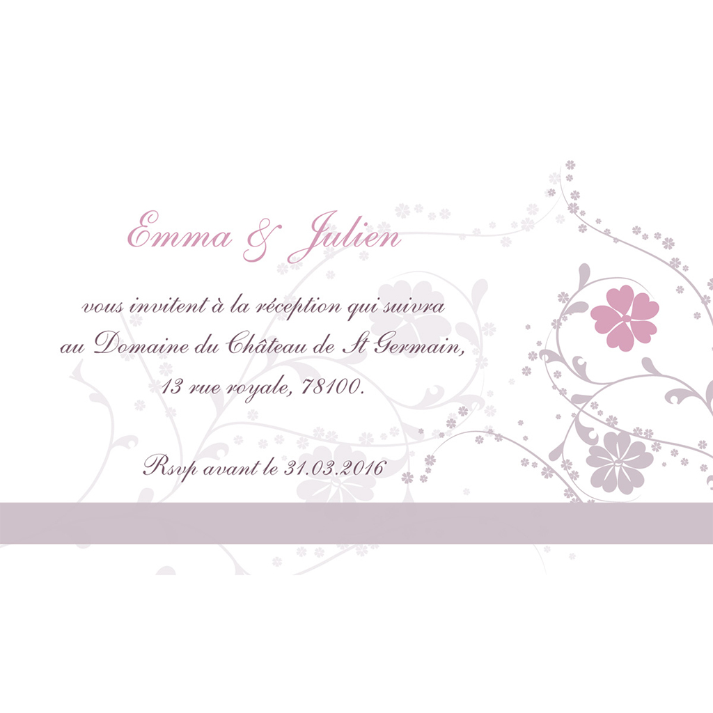 Carte d'invitation mariage Nuptial gris rose pas cher