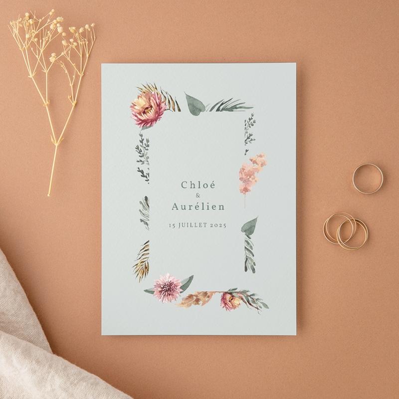 Faire-part de mariage Encadrement Floral, 12 x 16, 7 cm