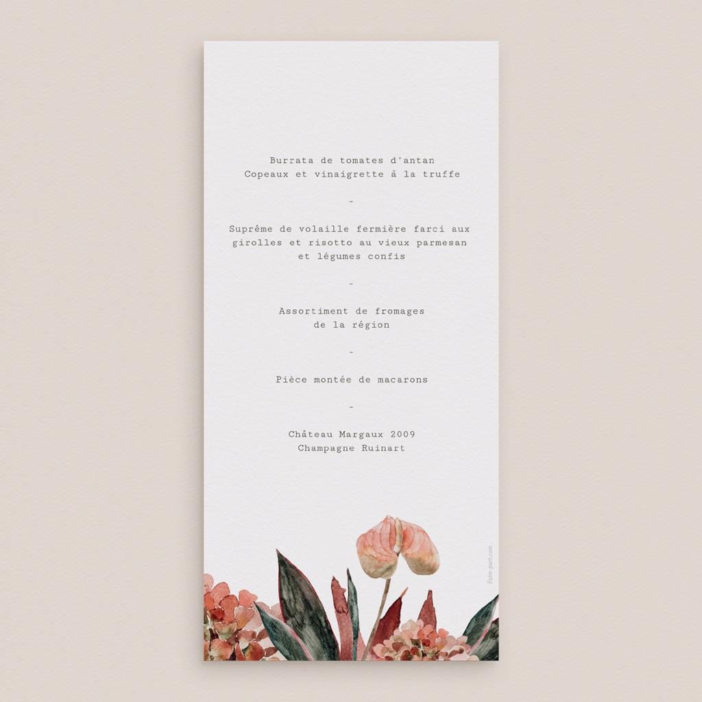 Menu mariage Repas, Arche de fleurs pourpres pas cher