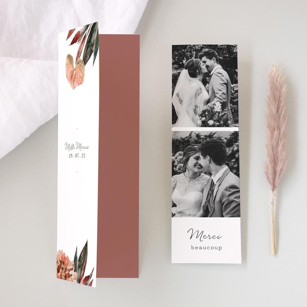 Carte de remerciement mariage Arche de fleurs pourpres, 2 en 1