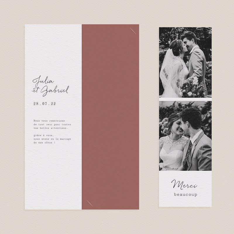 Carte de remerciement mariage Arche de fleurs pourpres, 2 en 1 pas cher