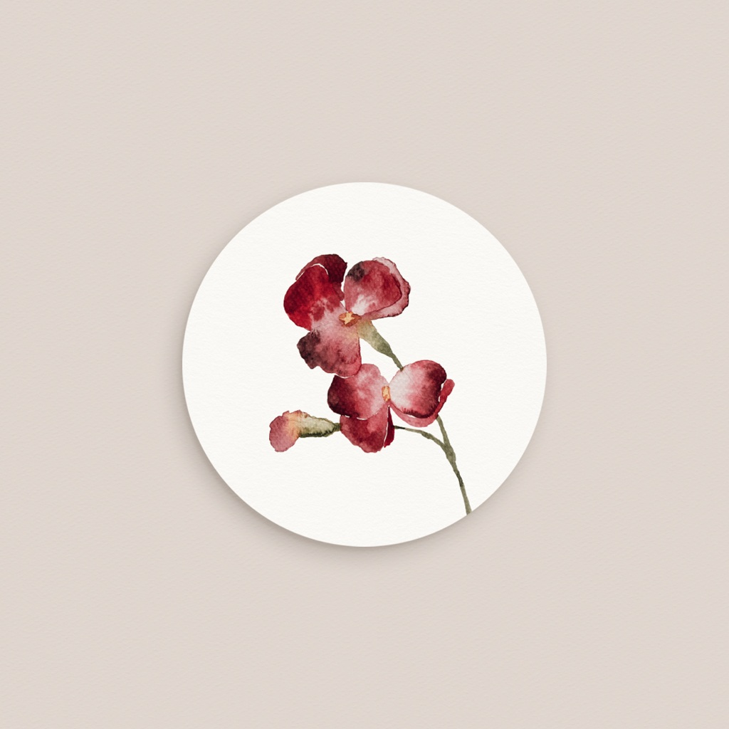 Etiquette enveloppes mariage Bouquet fleurs pourpres, Sticker pas cher