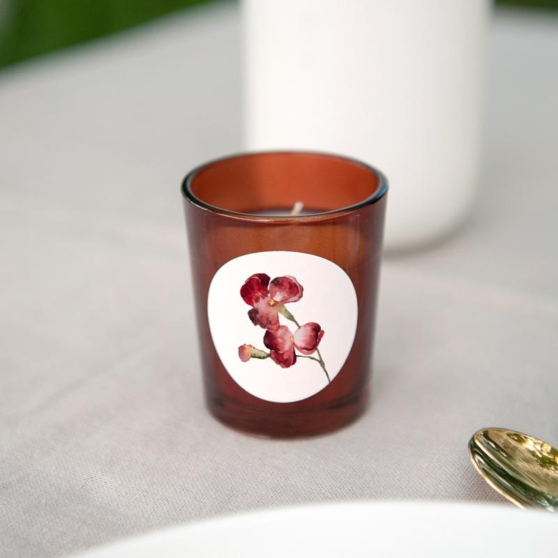 Etiquette enveloppes mariage Bouquet fleurs pourpres, Sticker gratuit