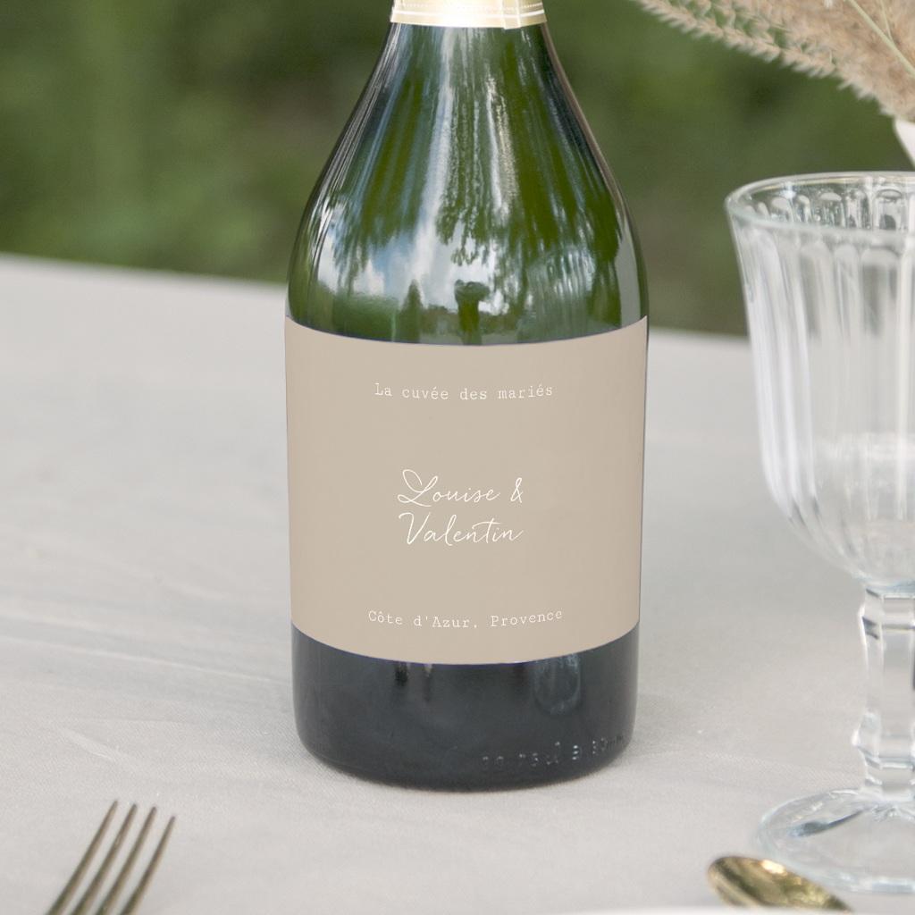 Etiquette bouteille mariage Bouquet fleurs pourpres, champagne