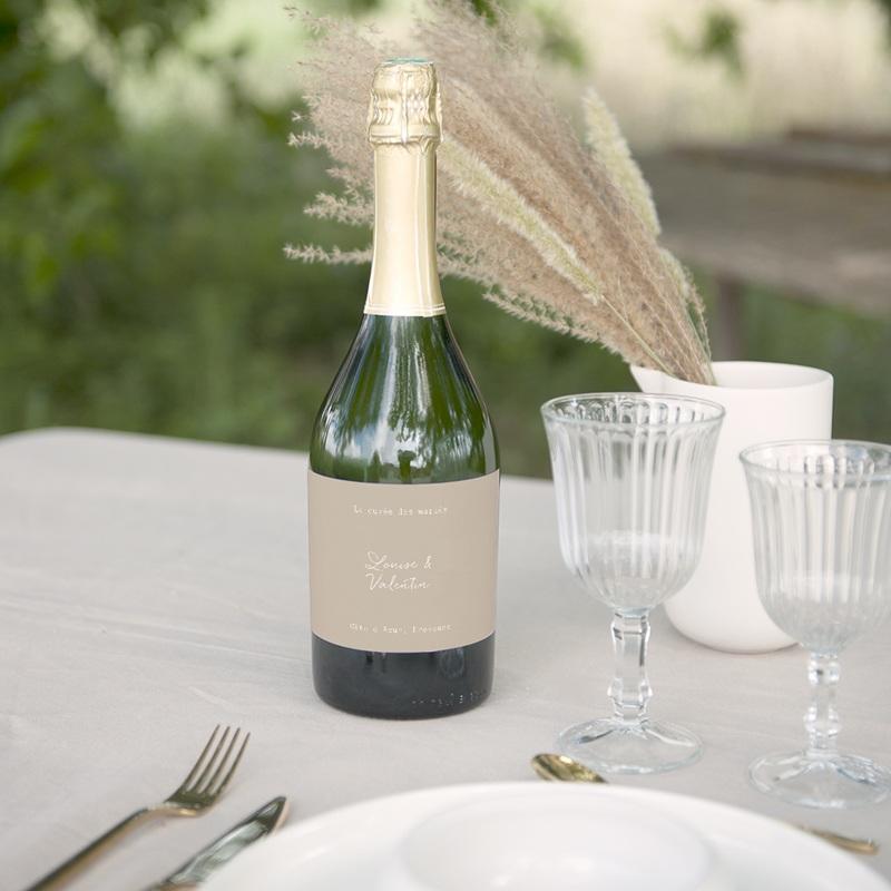 Etiquette bouteille mariage Bouquet fleurs pourpres, champagne gratuit