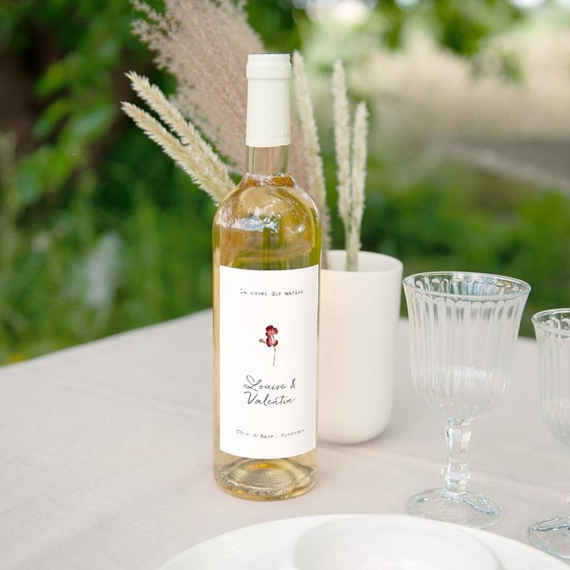 Etiquette bouteille mariage Bouquet fleurs pourpres, Vin