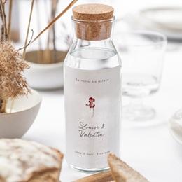 Etiquette bouteille mariage Bouquet fleurs pourpres, Vin gratuit