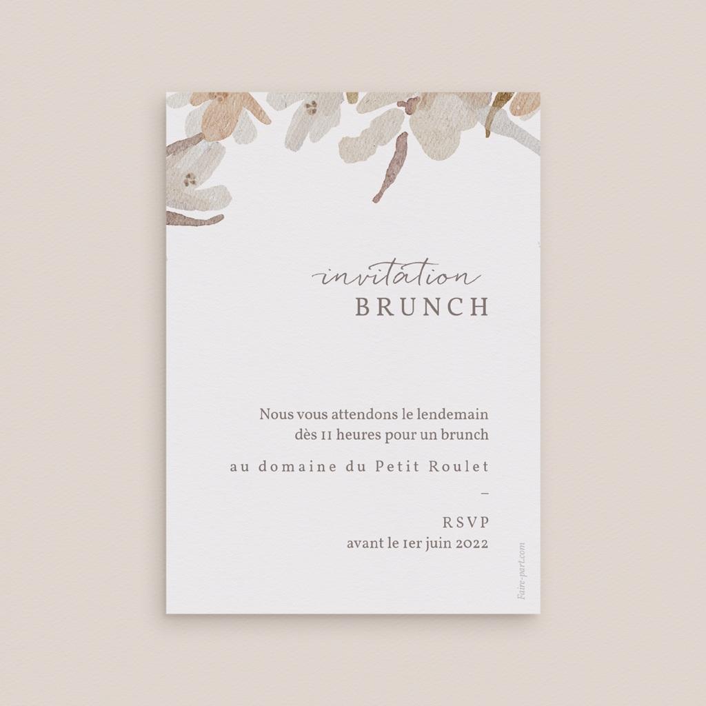 Carte d'invitation mariage Couronne de Fleurs d'Oranger, Brunch pas cher