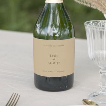 Etiquette bouteille mariage Silhouette de Pivoines, Beige, 13 x 8 cm