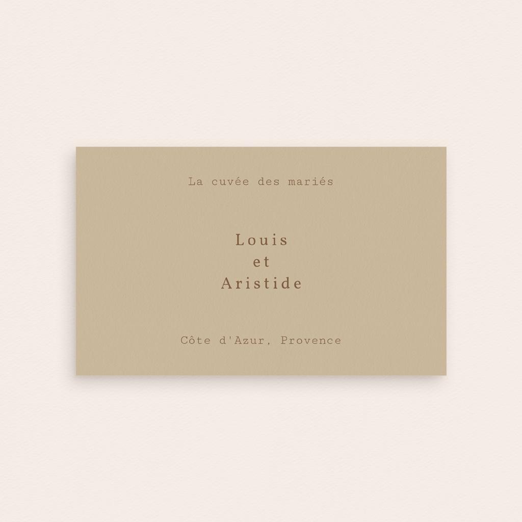 Etiquette bouteille mariage Silhouette de Pivoines, Beige, 13 x 8 cm pas cher
