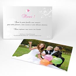 Carte de remerciement mariage Youpi gris tryptique