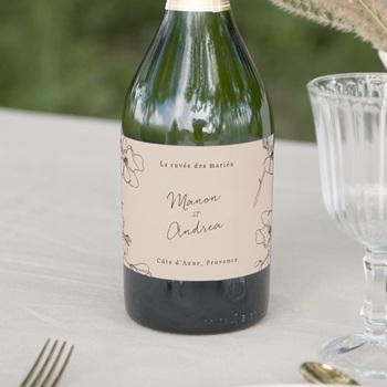Etiquette bouteille mariage Empreinte Cerisier Rosacé, 13 x 8 cm
