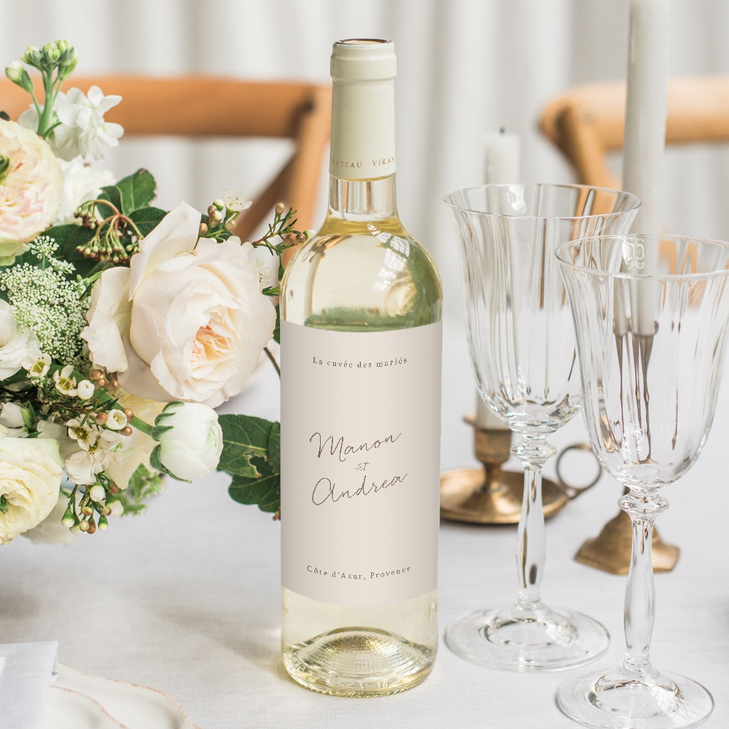 Etiquette bouteille mariage Empreinte Cerisier Rosacé, 8 x 13 cm