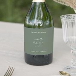 Etiquette bouteille mariage Brin Romantique, vert, 13 x 8 cm
