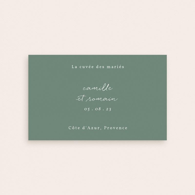 Etiquette bouteille mariage Brin Romantique, vert, 13 x 8 cm pas cher