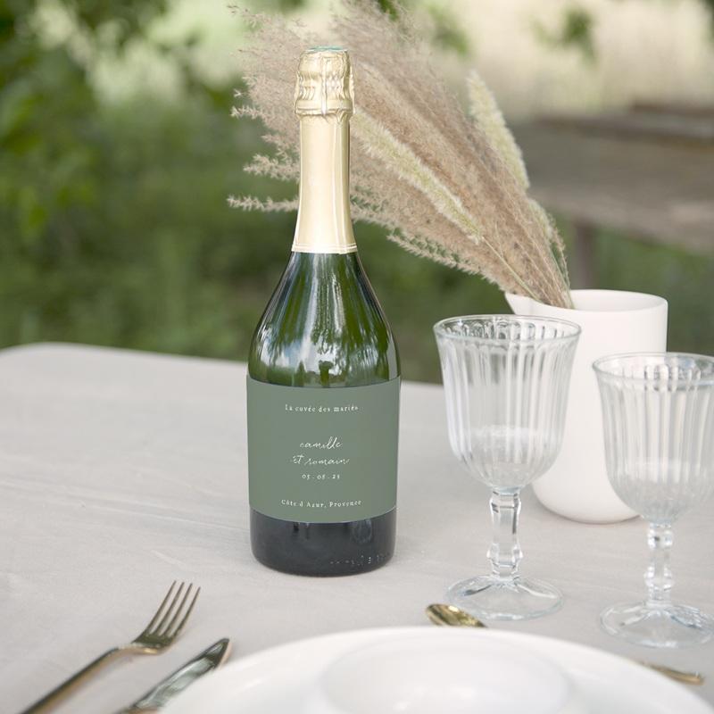 Etiquette bouteille mariage Brin Romantique, vert, 13 x 8 cm gratuit