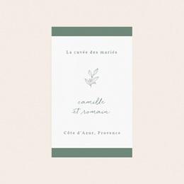 Etiquette bouteille mariage Brin Romantique, vert, 8 x 13 cm pas cher