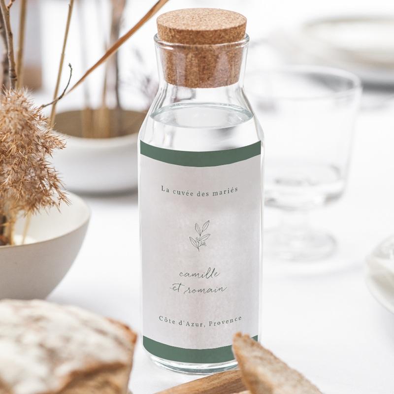 Etiquette bouteille mariage Brin Romantique, vert, 8 x 13 cm gratuit