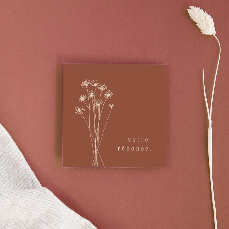 Carton réponse mariage Empreinte de Fleurs sauvages, Rsvp