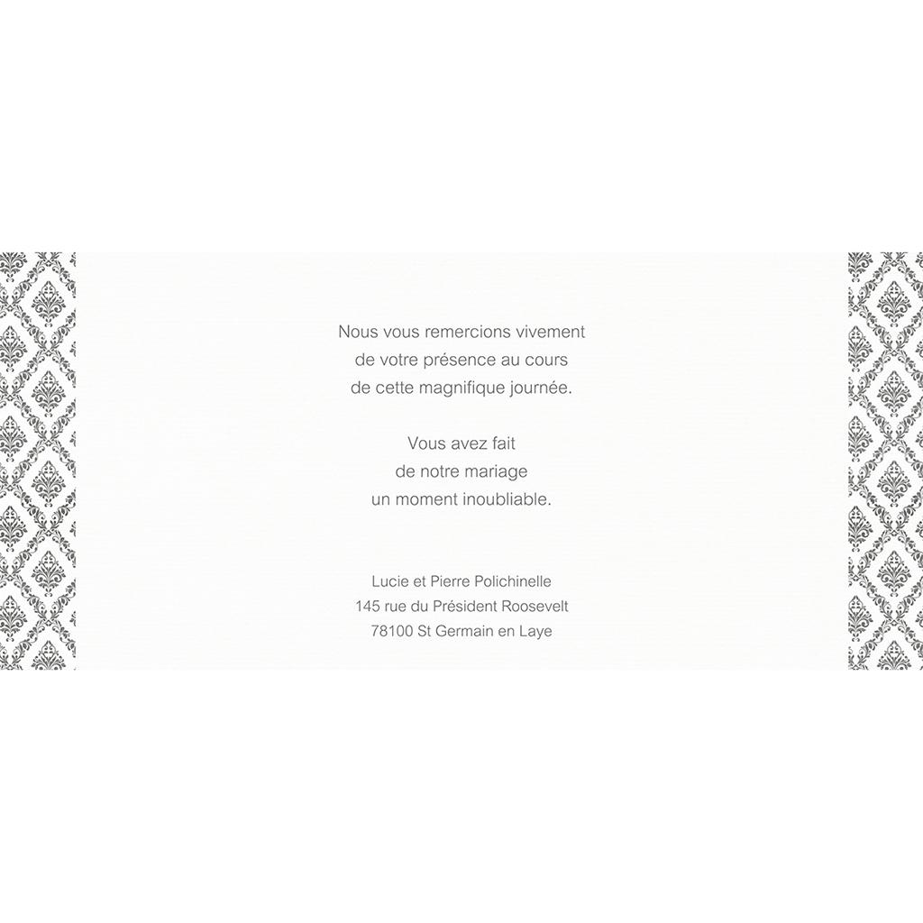 Carte de remerciement mariage Baroque  gratuit
