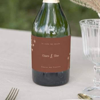 Etiquette bouteille mariage Empreinte de Fleurs sauvages, 13 x 8 cm