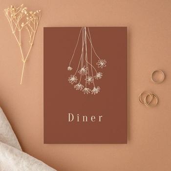 Carte d'invitation mariage Empreinte de Fleurs sauvages, 10 x 14 cm