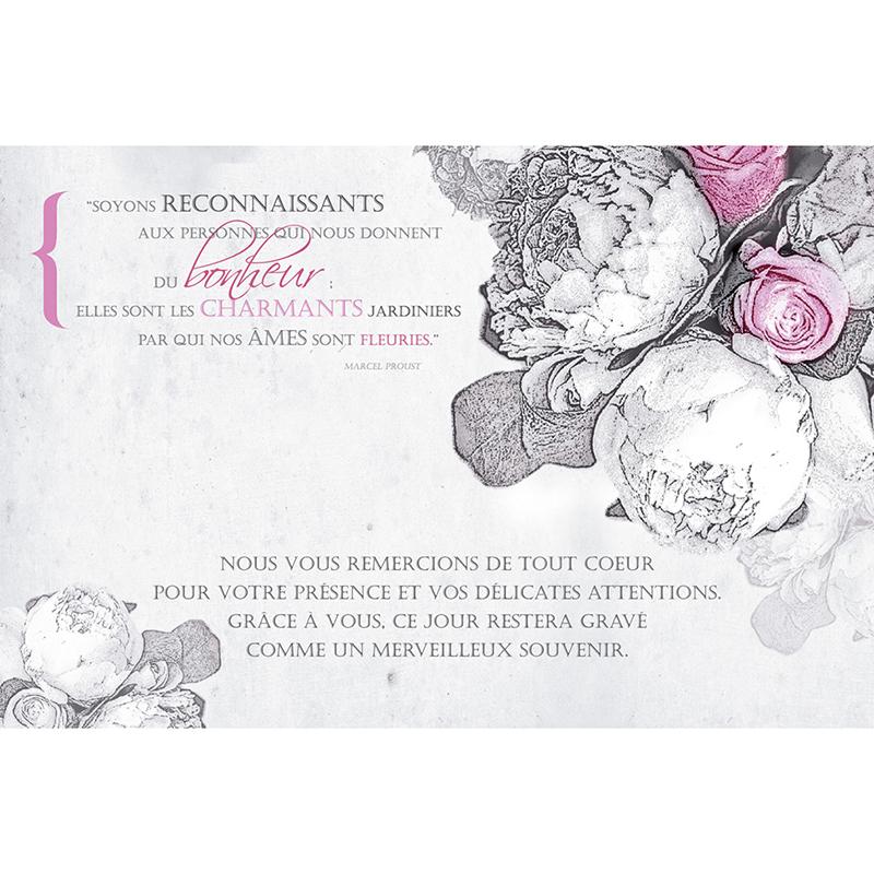 Carte de remerciement mariage Pivoines  pas cher