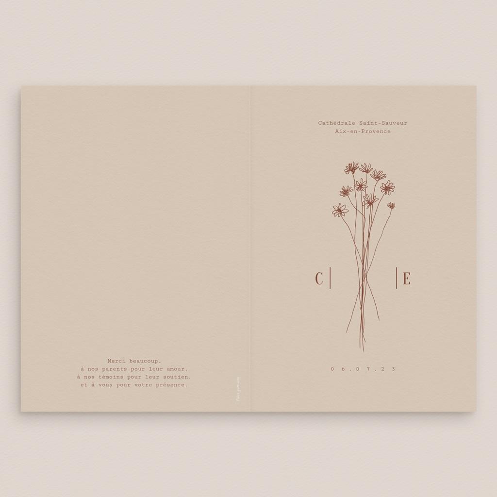 Livret de messe mariage Empreinte de Fleurs sauvages, 15 x 22 gratuit