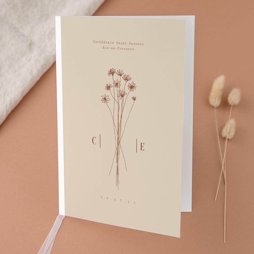 Livret de messe mariage Empreinte de Fleurs sauvages, 15 x 22