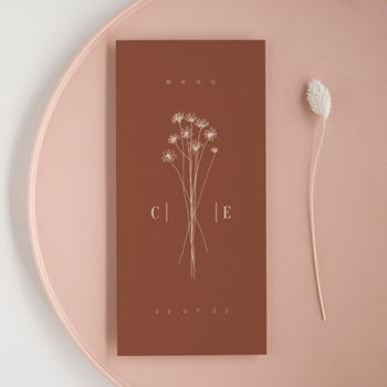 Menu mariage Empreinte de Fleurs sauvages, 10 x 21 cm