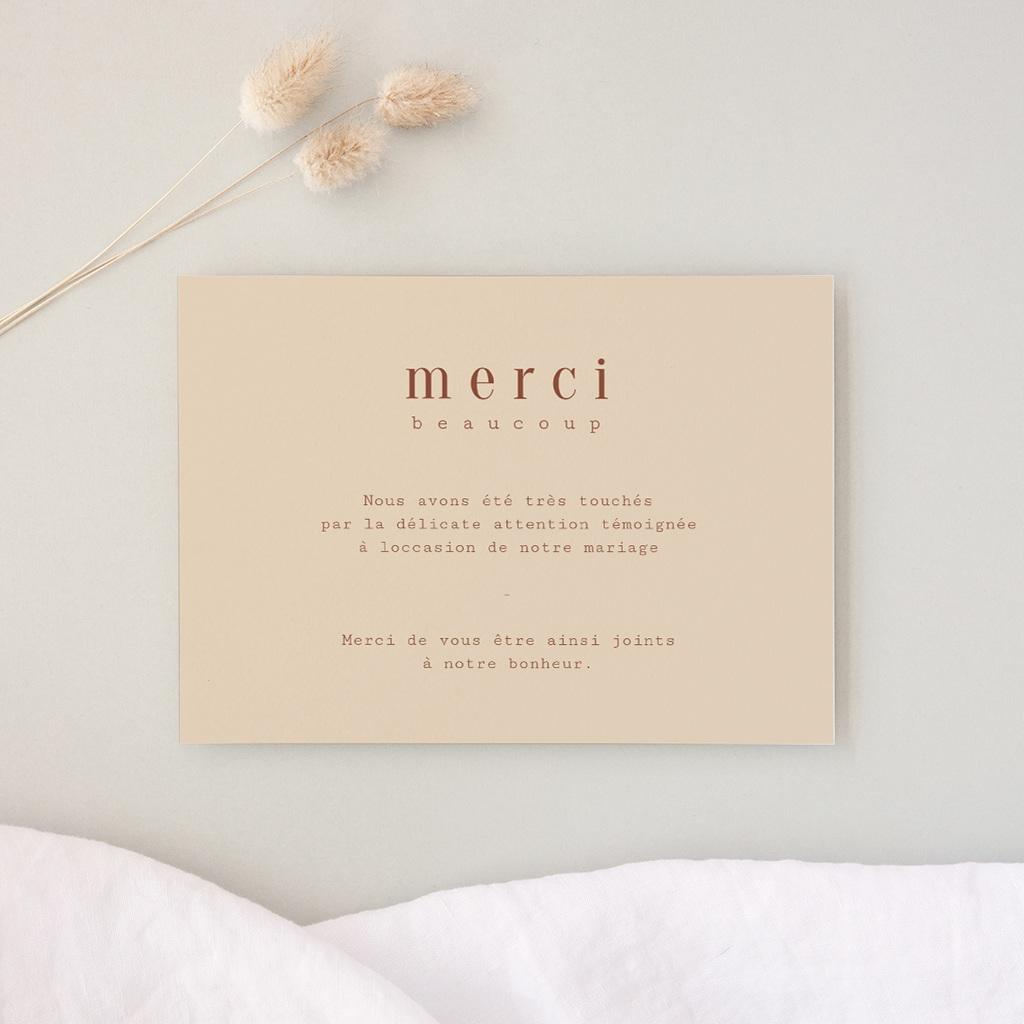 Carte de remerciement mariage Empreinte de Fleurs sauvages, Merci
