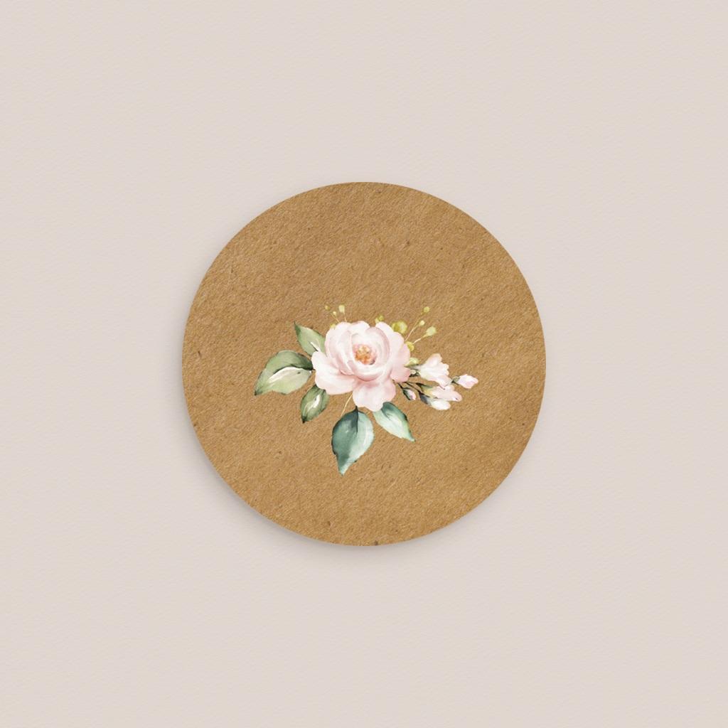 Etiquette enveloppes mariage Kraft et Rose, 4,5 cm pas cher